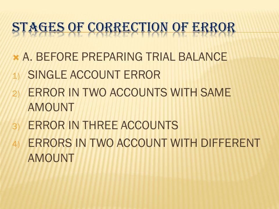 STAGES OF CORRECTION OF ERROR