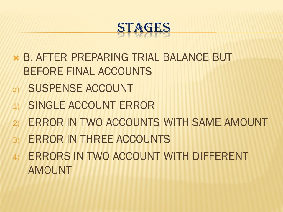 STAGES B. AFTER PREPARING TRIAL BALANCE BUT BEFORE FINAL ACCOUNTS