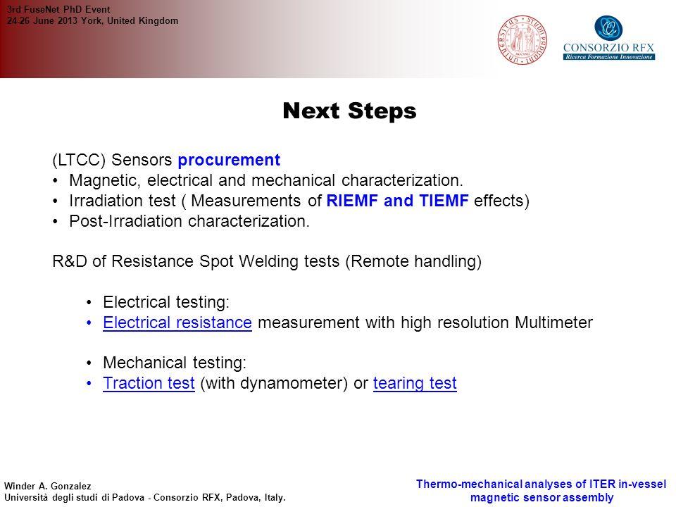 Next Steps (LTCC) Sensors procurement