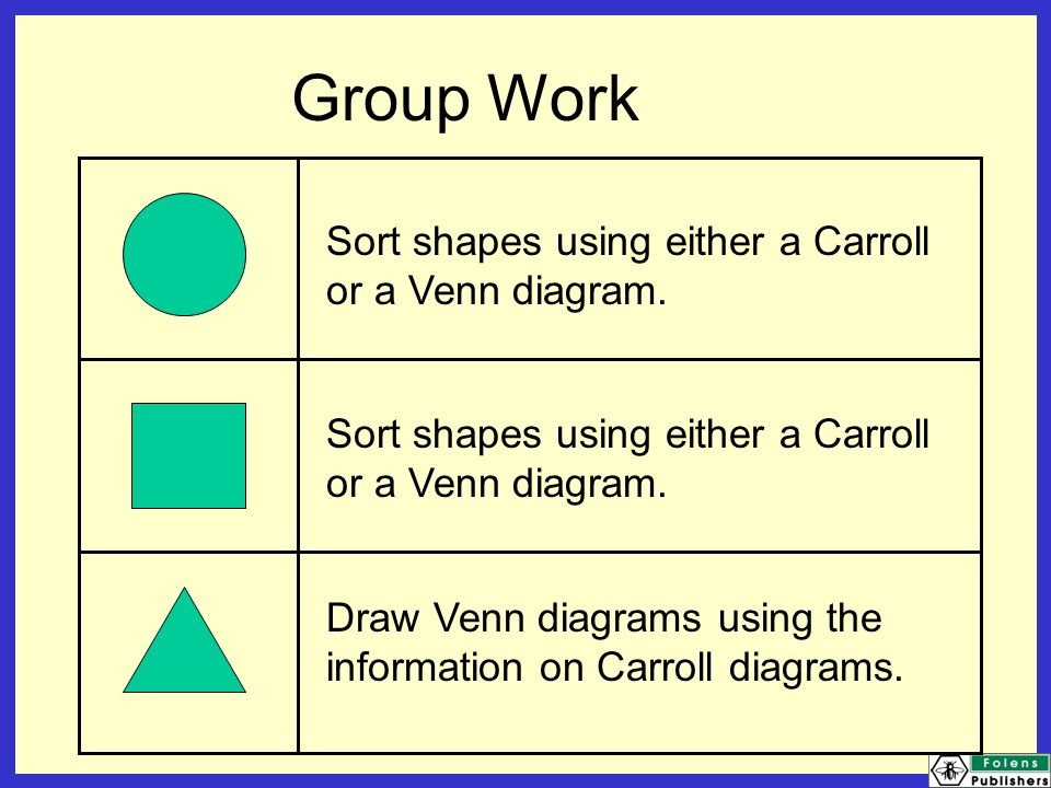 Data handling ppt video online download group work sort shapes using either a carroll or a venn diagram ccuart Gallery