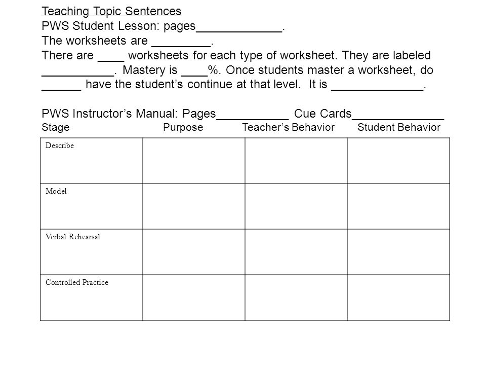 The Paragraph Writing Strategy ppt download – Topic Sentence Worksheet