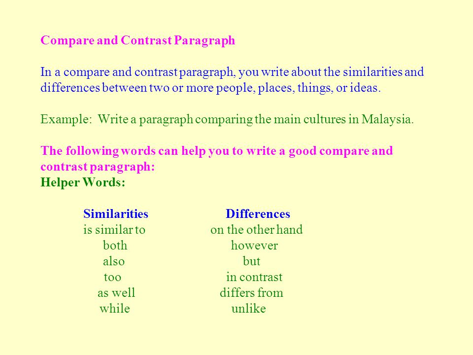 Essay compare and contrast two places on early earth