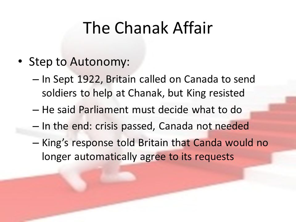 canada s autonomy Canada's road to autonomy during the 1920s, canada took some major steps toward full autonomy (complete control over its own affairs), canada's path to autonomy was different from the one the united states had taken.