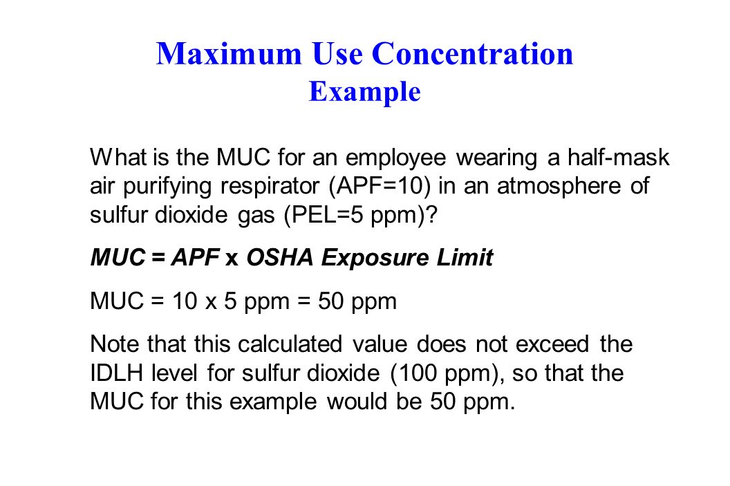 Maximum Use Concentration Example