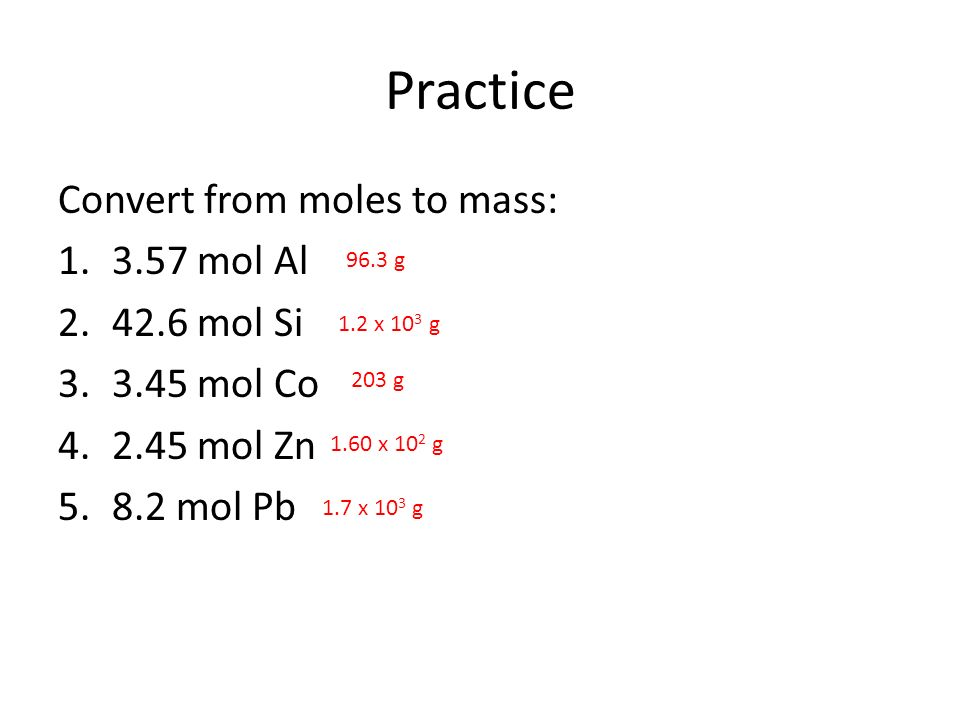 The Mole The Mole The Mole Memorize this number 1 mol 602 x – Mole Conversion Practice Worksheet