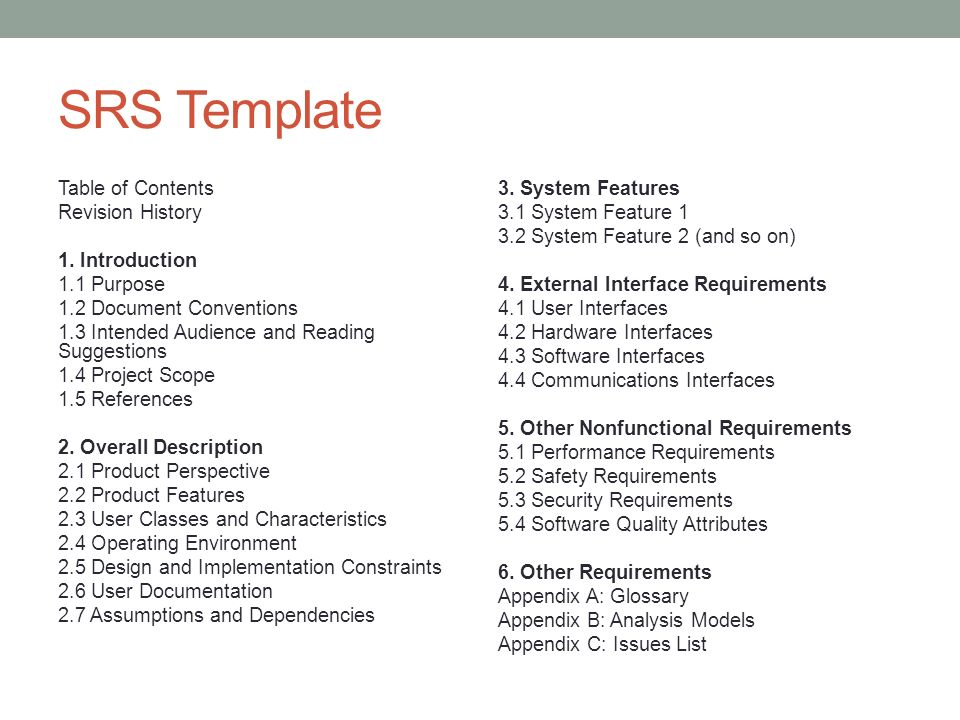 srs software requirement specification template - requirement handling ppt video online download