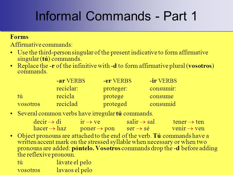 Informal Commands - Part 1