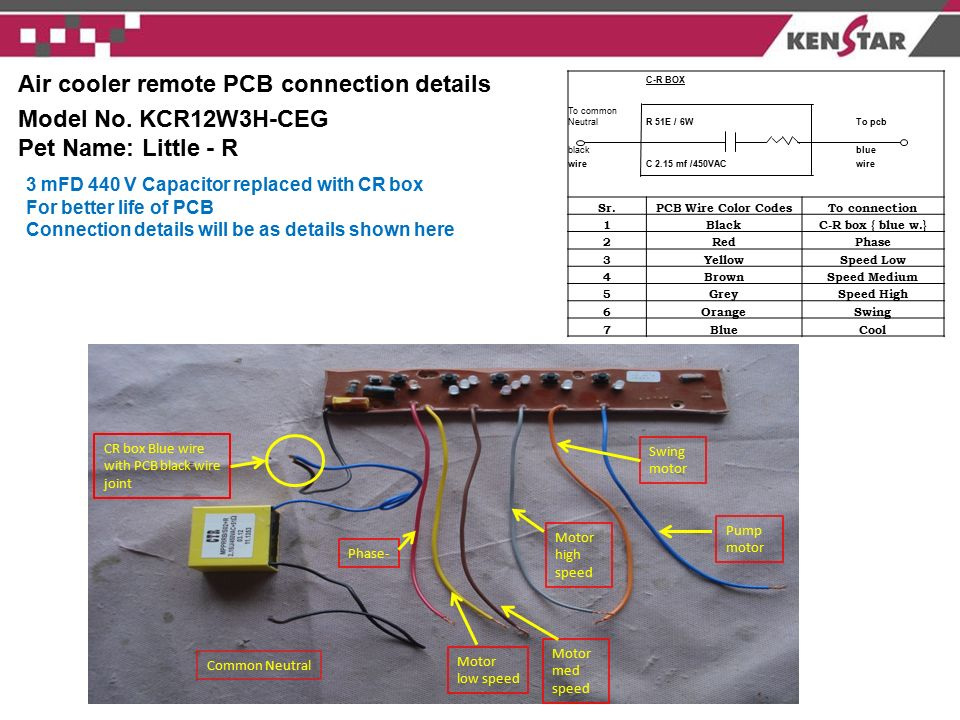 Air+cooler+remote+PCB+connection+details+Model+No.+KCR12W3H CEG air cooler remote pcb connection details model no kcr12w3h ceg weg electric motor wiring diagram at n-0.co