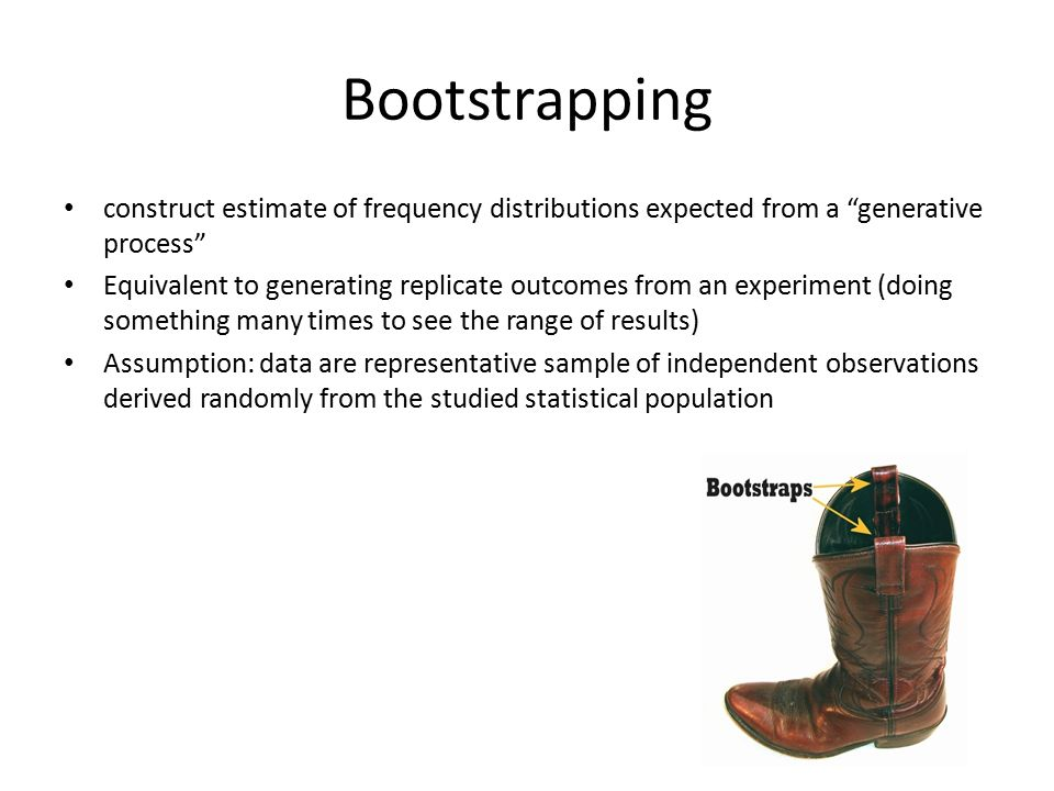 Bootstrapping construct estimate of frequency distributions expected from a generative process