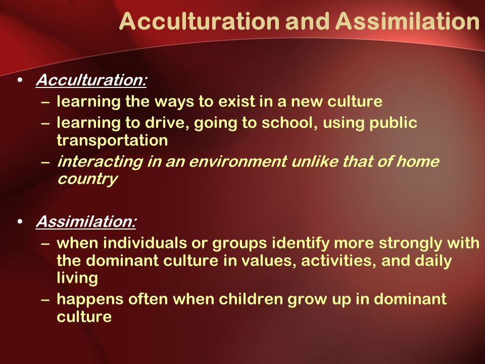 an introduction to the process of assimilation in schools The effect of the assimilation process on the social actors and their environment allows flexibility and variety in the ethnic blends, depending on the social .