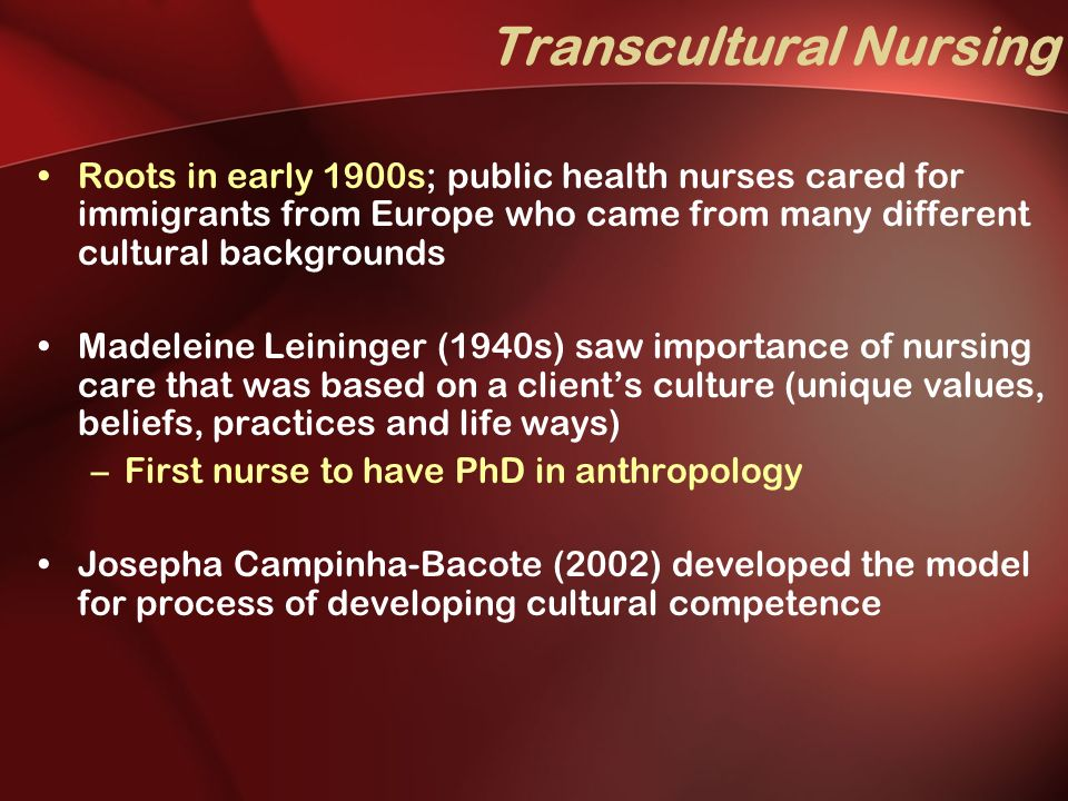"the importance of cultural background in nursing Explore cultural diversity in healthcare as america undergoes a health care reform and consider what ""universal access"" really means ""if we don't have the cultural context of the people we're serving, we're not going to be effective as health care professionals it's not just in medicine it's in nursing."