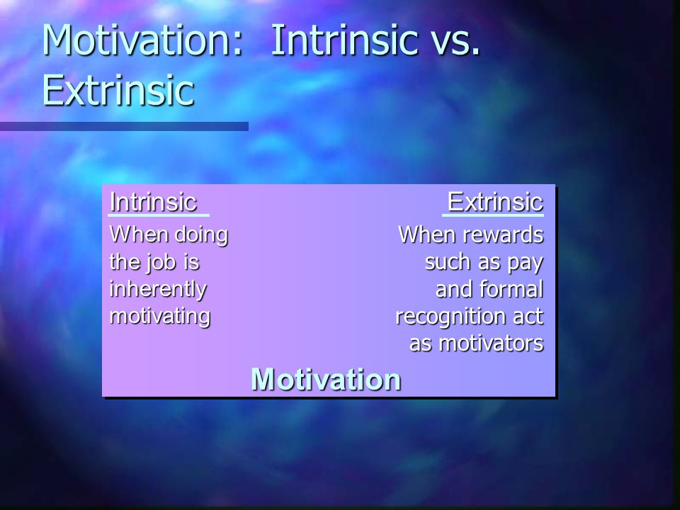 intrinsic vs extrinsic motivation in the 2018-05-24 intrinsic motivation and extrinsic motivation with examples of each type of motivation motivation is an important concept in psychology it provides insight into why we may behave the way we do motivation is an internal.