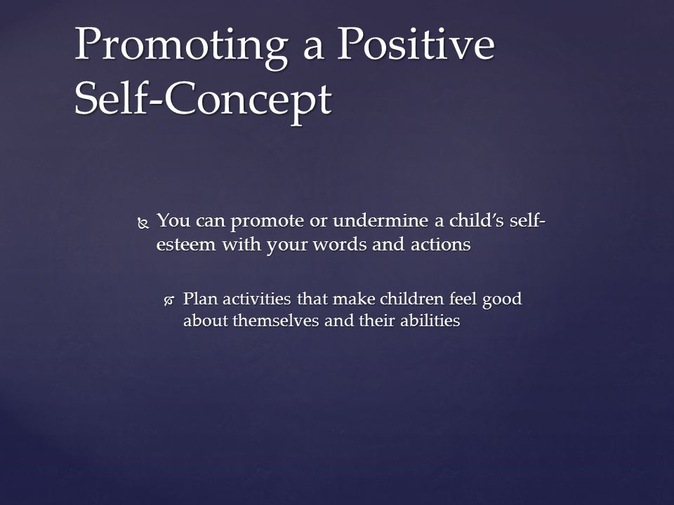 promote positive self esteem Self-esteem is a very important ingredient for a successful and happy life a person can be blessed with intelligence and talent but if he or she lacks self-esteem, this can be an obstacle in achieving success in a job, a relationship and in virtually every area of life.