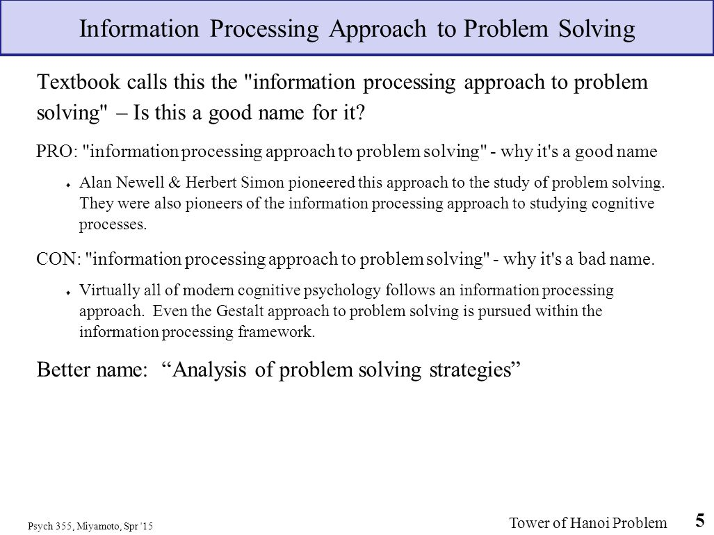 problem solving approach Power thinking for the perioperative nurse problem solving and the nursing process burns and grove define problem solving as the systematic identification of a problem, determination of goals relating to the problem, identification and possible approaches to achieve these goals, implementation of selected approaches, and evaluation of goal.