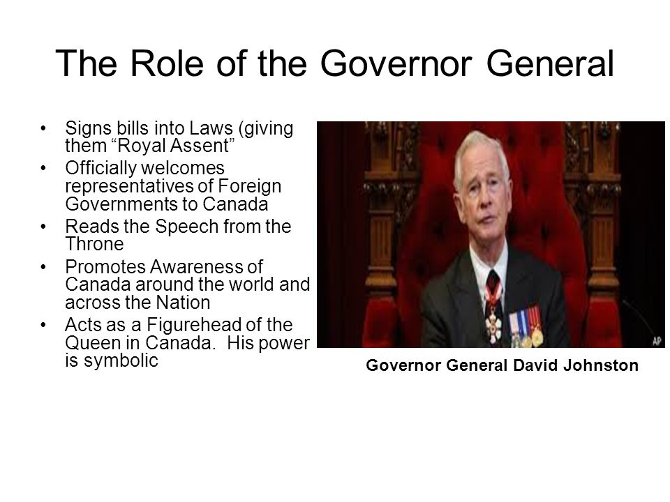 role of govenor general What are a governor's responsibilities state constitutions delegate different duties and requirements for the role of governor while the georgia general.