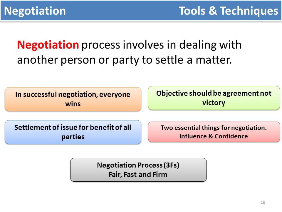 negotiation techniques There is this old and obsolete view of negotiations that is based on techniques and rules, under the assumption that there are certain actions you can repeat in any negotiation and that will always produce the same positive results that is a false assumption though, for negotiations differ so much between them in so many.