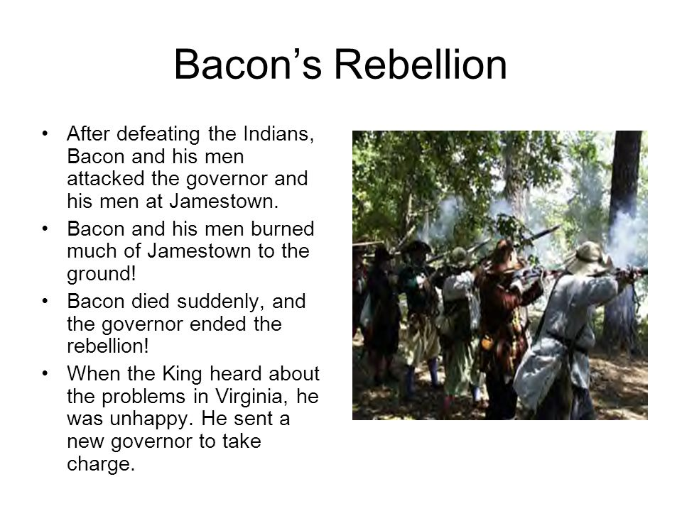 factors that led to the bacons rebellion The rebellions of 1837–1838  the rebellions led directly to lord durham's report on the affairs of british north america and to the  rebellion in upper.