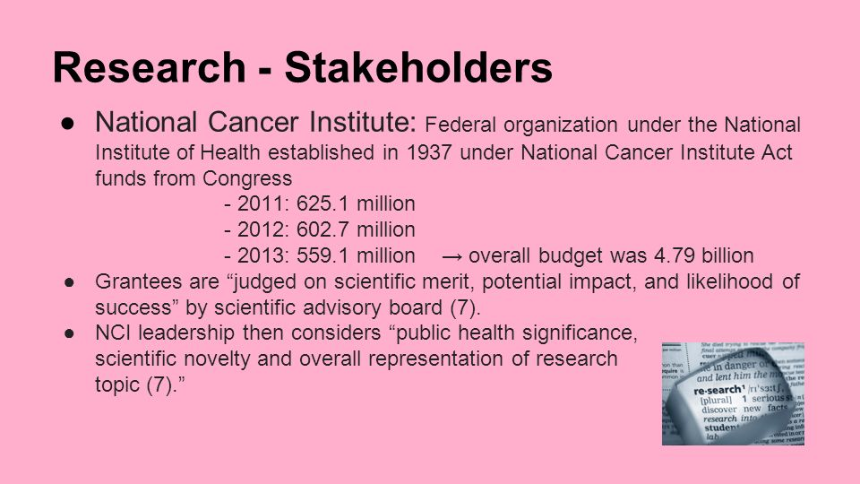 cancer research stakeholders Industry responding to president obama's call for a cure for cancer in our time,  the pharmaceutical research and manufacturers of america (phrma).