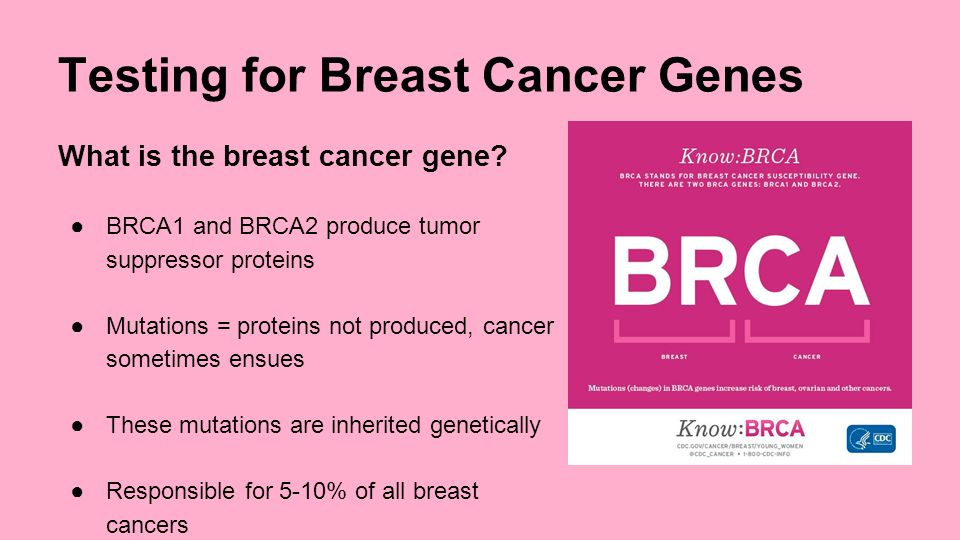 an introduction to the genetic testing for breast cancer Breast, colon or uterine cancer diagnosed under the age of 50 ovarian cancer diagnosed at any age two or more close family members who have had the same type of.