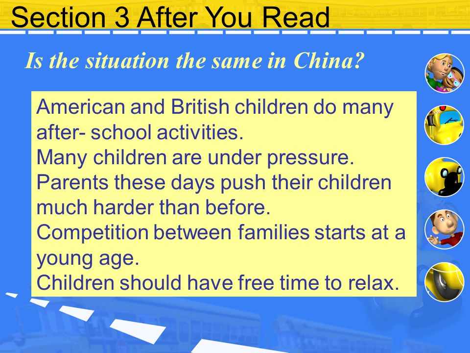 Section 3 After You Read Is the situation the same in China