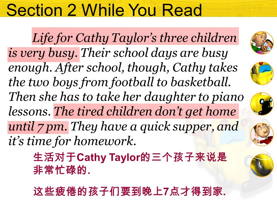 Section 2 While You Read Life for Cathy Taylor's three children