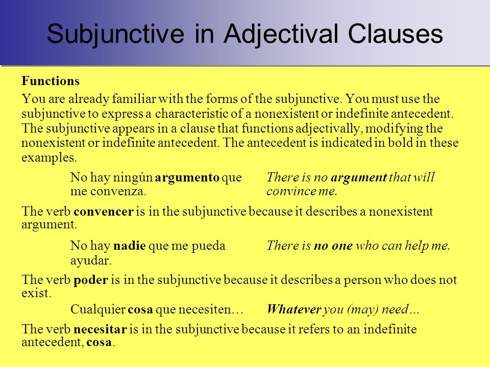 Subjunctive in Adjectival Clauses