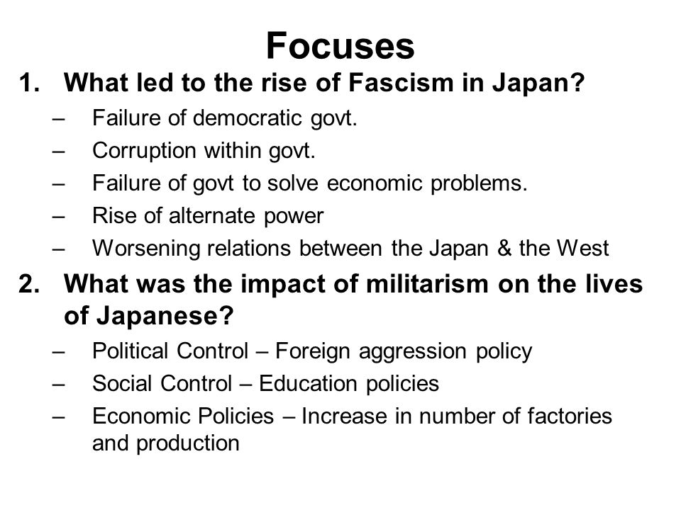 rise of militarism in japan essay Achieving peace through militarism essay - (the works cited are missing form this paper) the modern state's approach to peace is primarily a justification for militarism and.