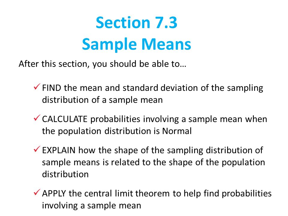 7.3: Sample Means. - ppt download