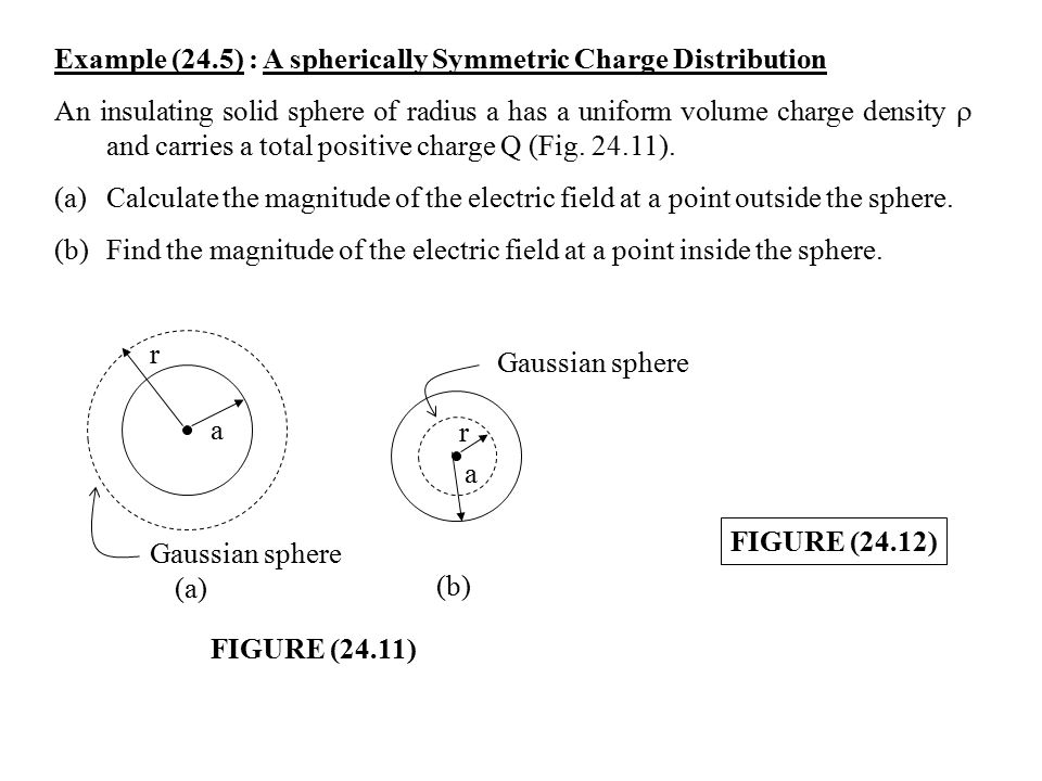 Chapter 24 gausss law 241 electric flux ppt video online example 245 a spherically symmetric charge distribution ccuart Image collections