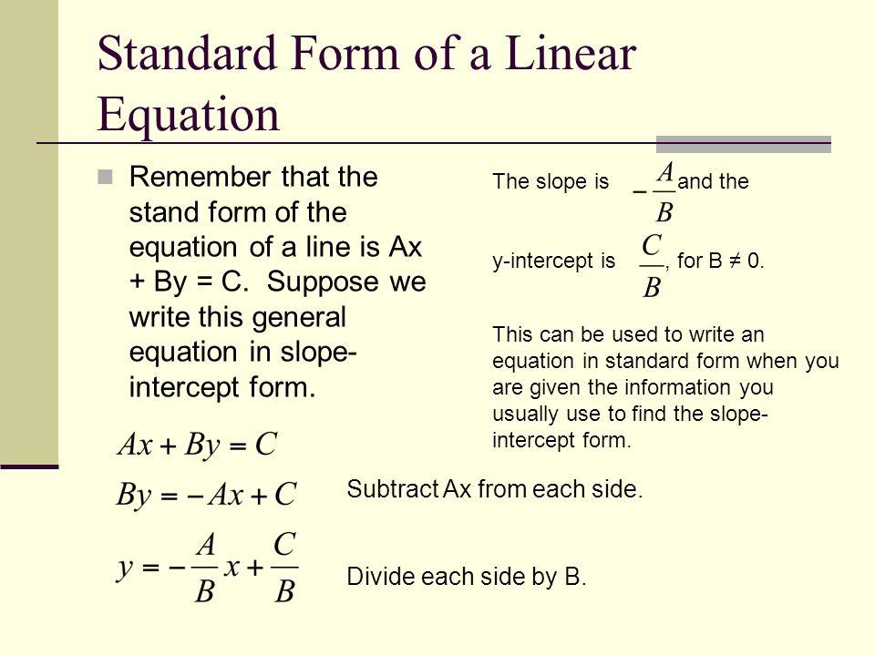 Standard Form Equation Of A Line Olivero