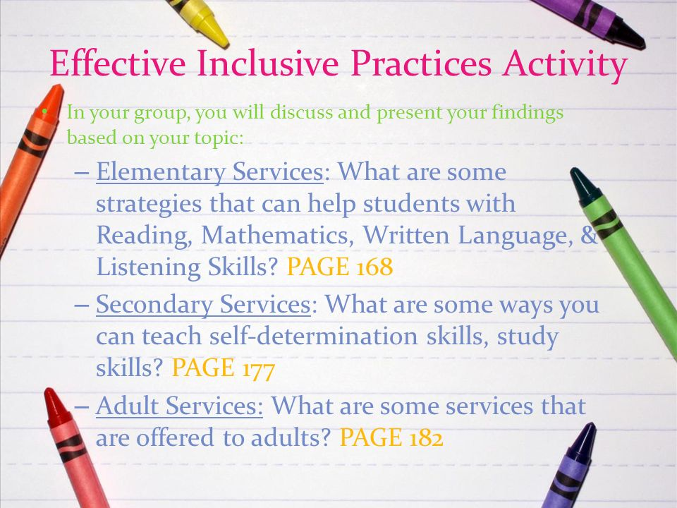 the inclusive learning assignment Inclusion, in education refers to the a model wherein special needs students  spend most or all  they may provide a variety of settings, from special  classrooms to mainstreaming to inclusion, and assign, as teachers and  administrators often do.