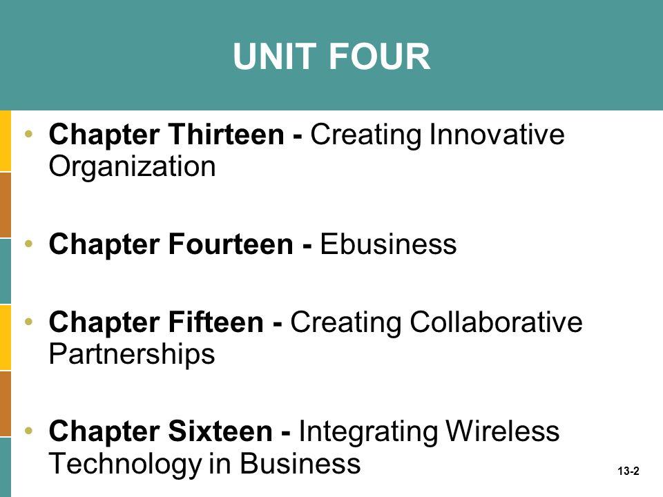 UNIT FOUR Chapter Thirteen - Creating Innovative Organization