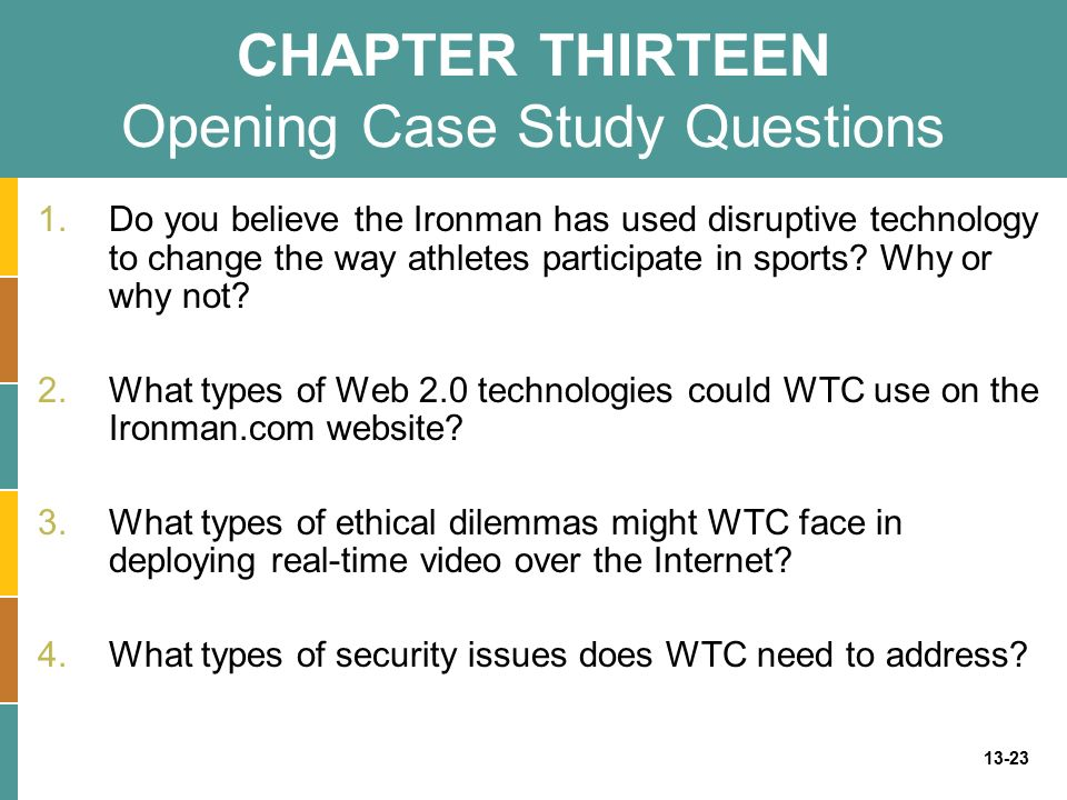 CHAPTER THIRTEEN Opening Case Study Questions