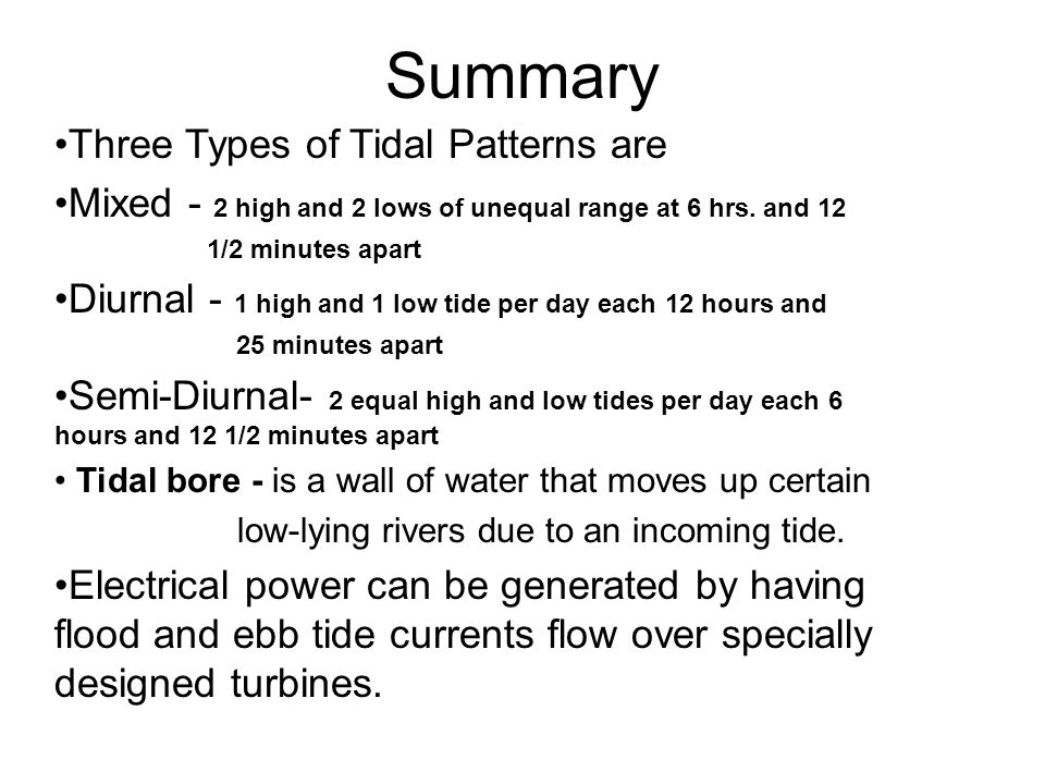 The tides ppt download summary three types of tidal patterns are sciox Image collections