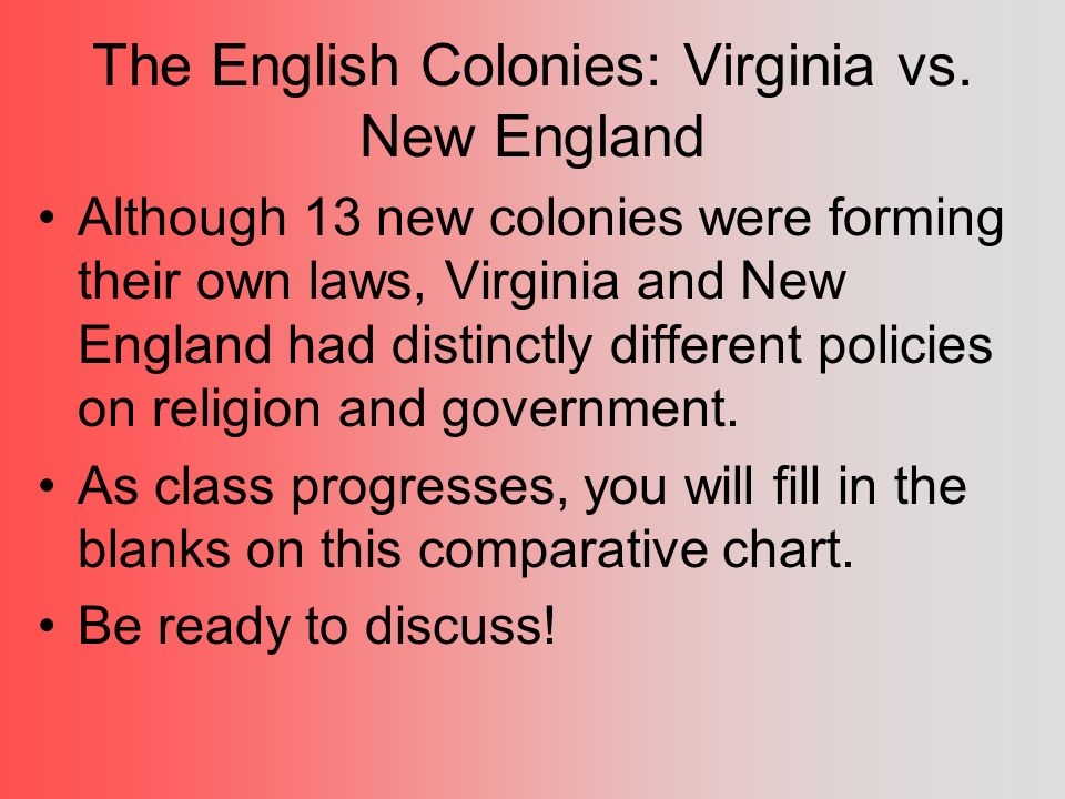 a comparison of the virginia colony with the new england colonies