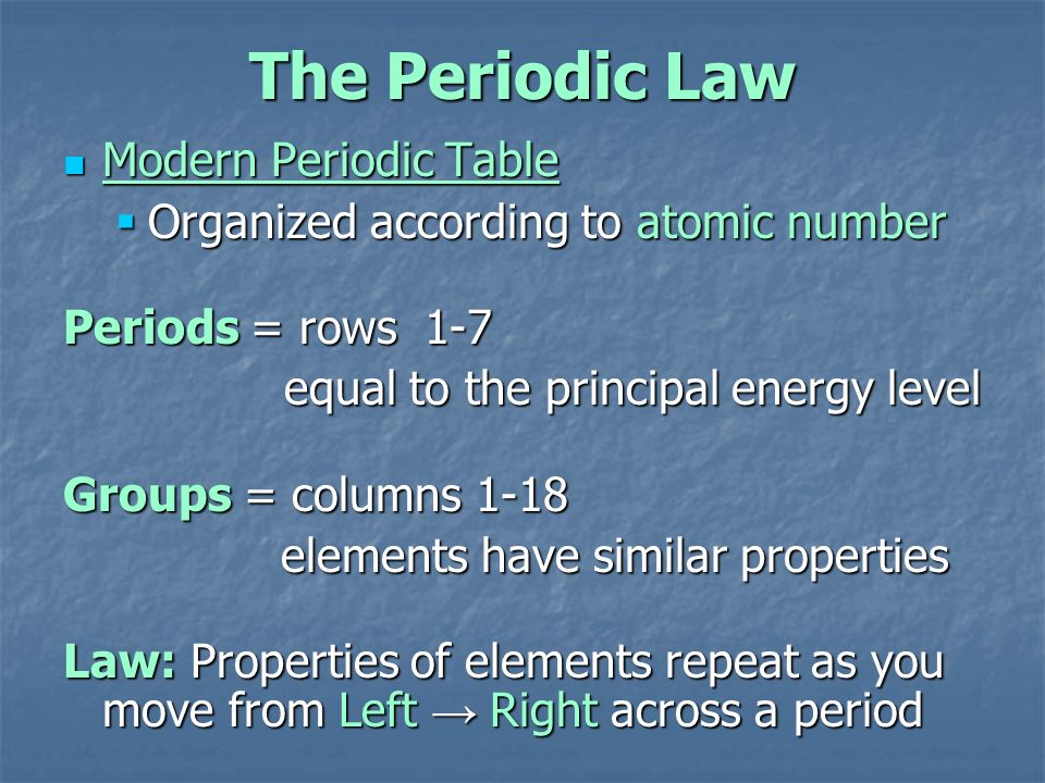 Chapter 6 the periodic table ppt download the periodic law modern periodic table urtaz Image collections