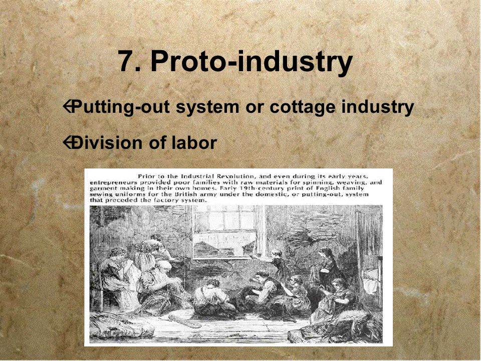 Proto Industry Putting Out System Or Cottage