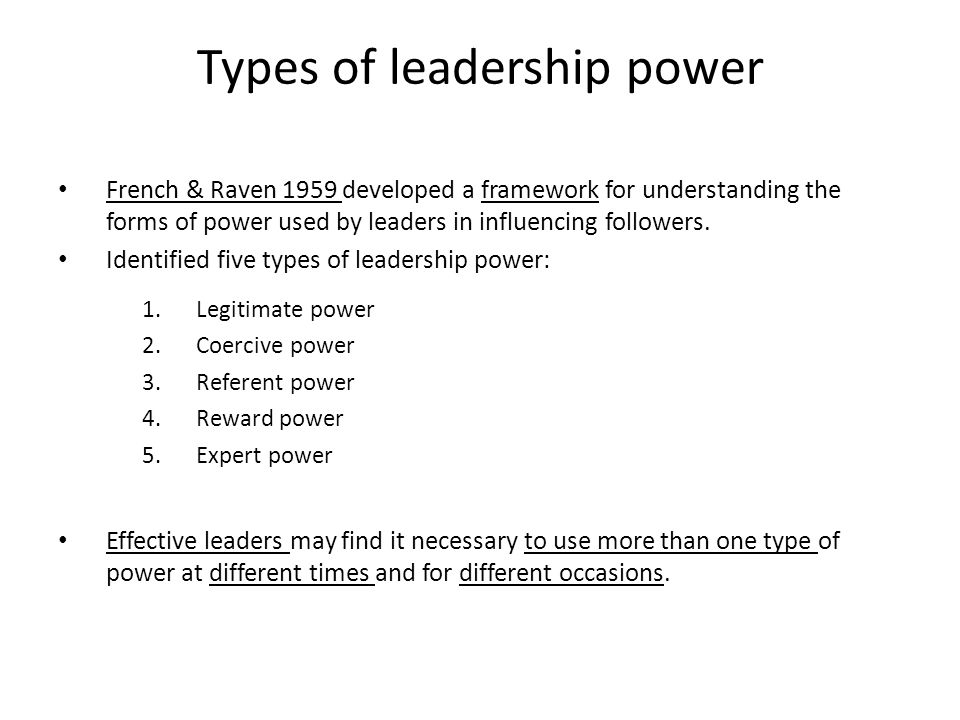 the five forms of power In a notable study of power conducted by social psychologists john r p french  and bertram raven in 1959, power is divided into five separate and distinct forms .