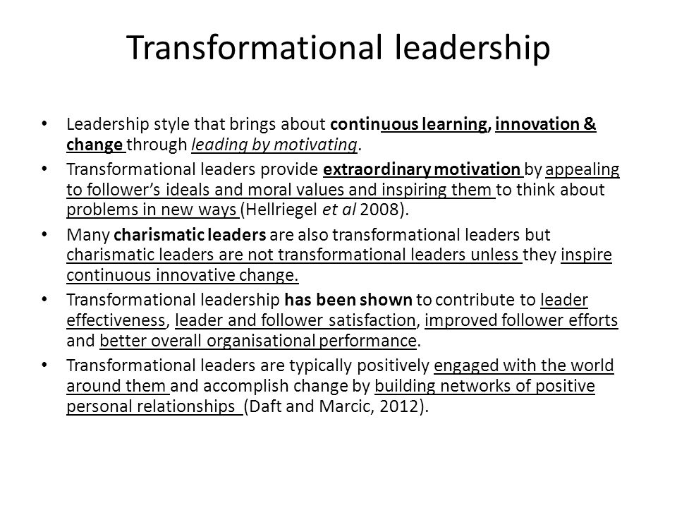 transformational leadership style and its relationship with satisfaction