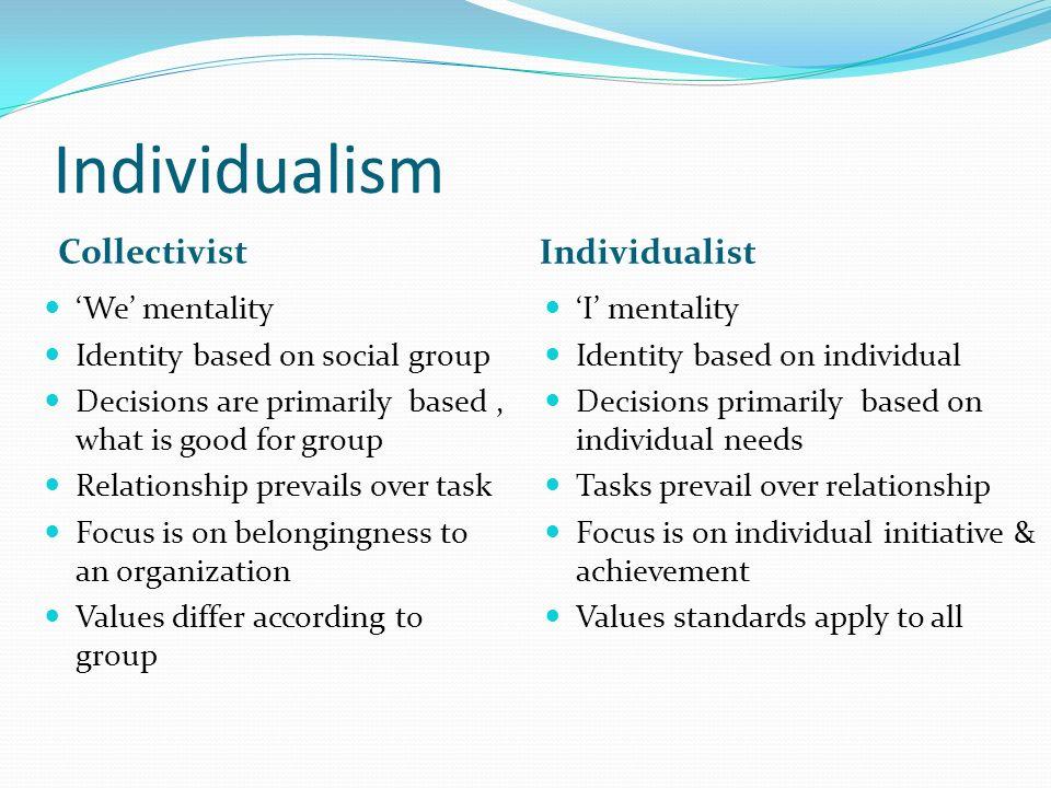 Individualism Collectivist Individualist 'We' mentality