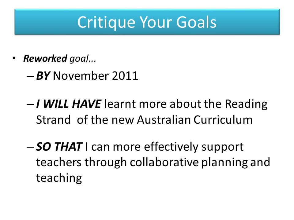 Collaborative Teaching Goals ~ Performance and development teacher librarian network