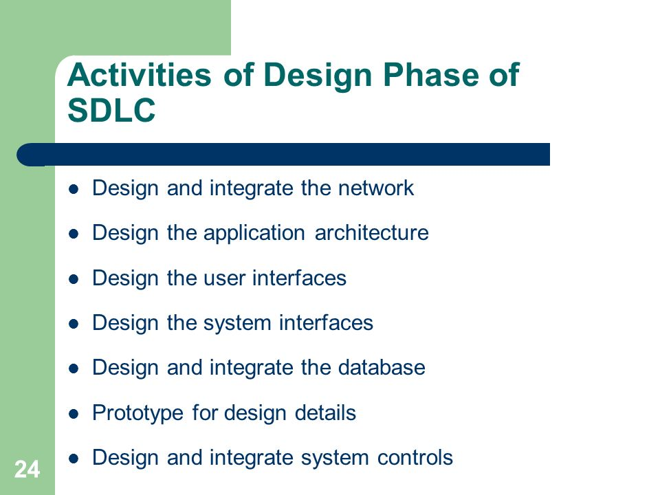 activities in the design phase of sdlc In this phase, you should work closely with the end users of the system to ensure that what you plan to develop will ultimately meet their expectations and needs system design.