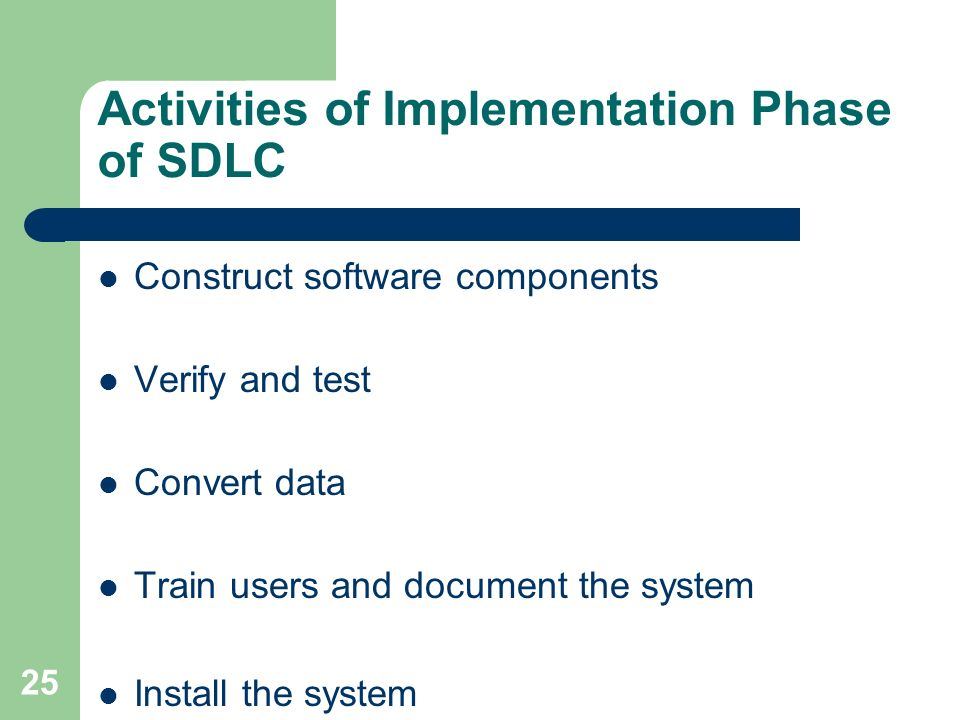 implementation stage of sdlc essay The sdlc process involves several distinct stages, including planning,  project  teams implement a set of software requirements, then test,.