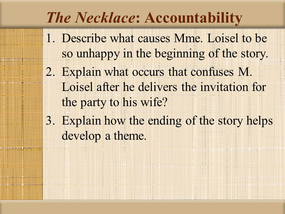 "an analysis of themes of selfishness and materialism in the necklace by guy de maupassant In the short story ""the necklace,"" written by guy de maupassant, an indirect theme is revealed, allowing the lesson to take effect for the reader after the entire story has been read."