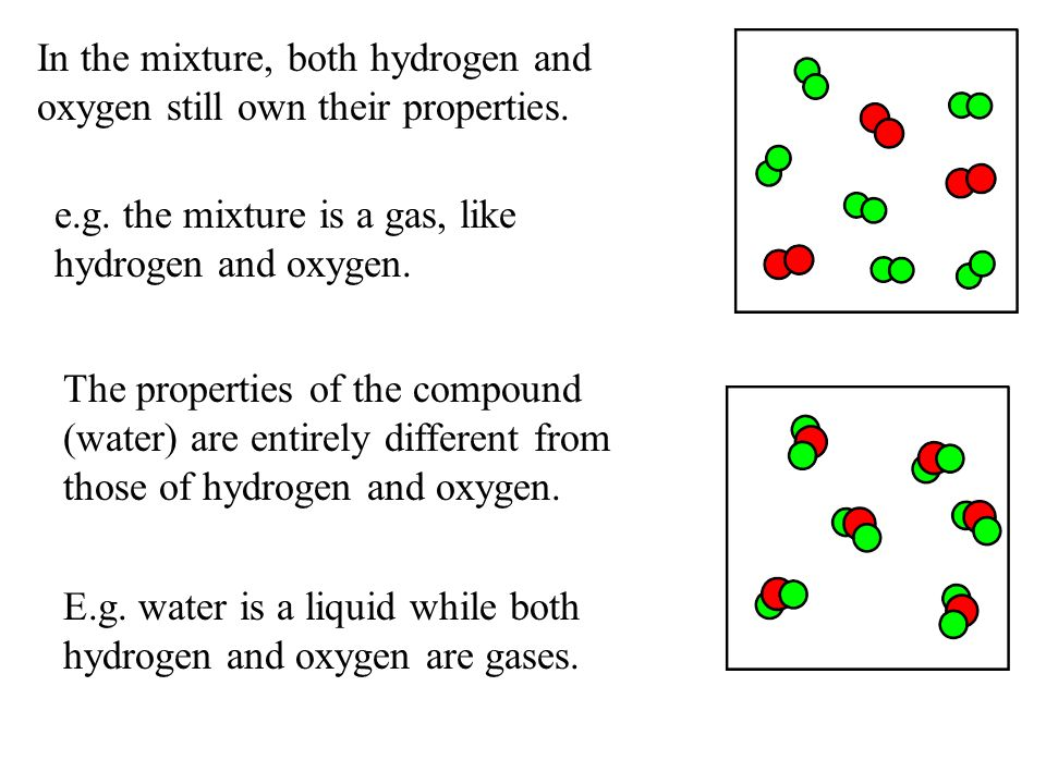 In the mixture, both hydrogen and oxygen still own their properties.