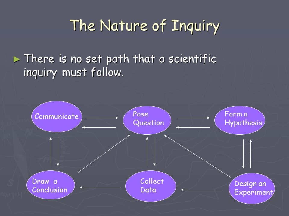 The Nature of Inquiry There is no set path that a scientific inquiry must follow. Pose Question. Form a Hypothesis.