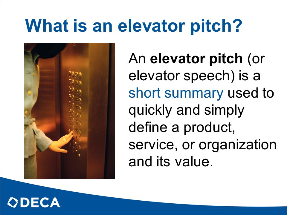 writing an elevator pitch Your elevator pitch is your quick, personal selling statement it can be used when riding in an elevator with the person next to you, when meeting employers at career fairs, and as the foundation for cover letters and email introductions.