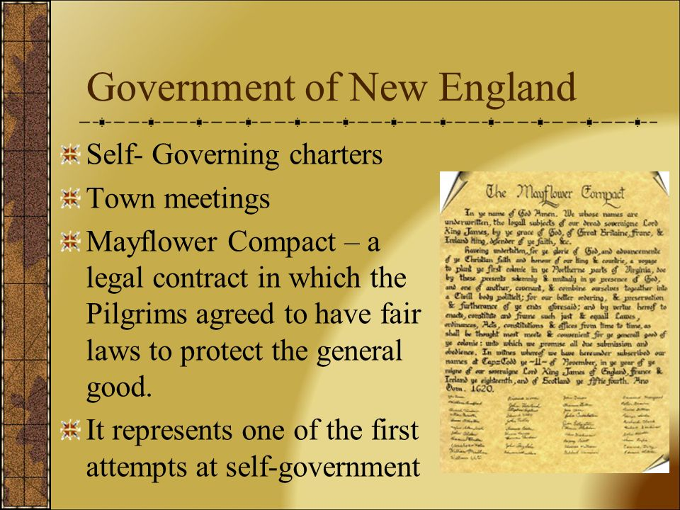 the government in massachusetts and the mayflower compact Mayflower compact: a foundation for concerned that a lack of government would lead to disorder and the failure of their mission when the plymouth colony was absorbed into the massachusetts bay colony the mayflower compact was the first written document providing for self-government in.