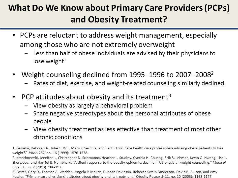 What Do We Know about Primary Care Providers (PCPs) and Obesity Treatment