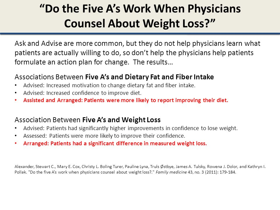 Do the Five A's Work When Physicians Counsel About Weight Loss